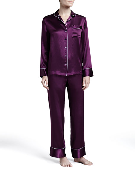 Silk Satin Piped PJ Set, Plum/Lilac