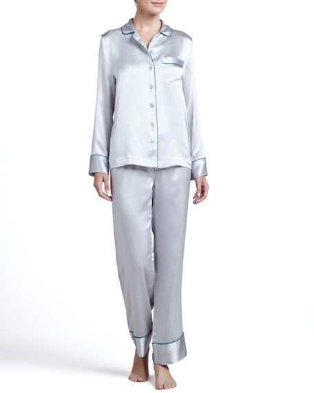 Contrast-Trim Silk Pajamas, Gray
