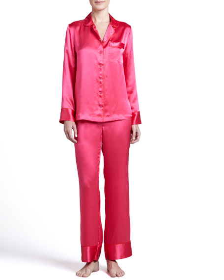 Contrast-Trim Sateen Pajamas, Poppy