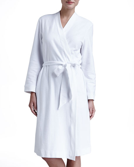 Pique Banded-Trim Robe, White