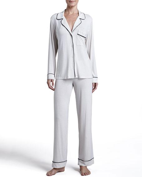 Gisele Long Pajama Set, Ivory/Navy