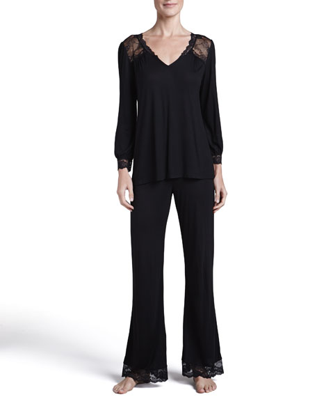 Fiona Long-Sleeve Lounge Tee & Pants Set, Black