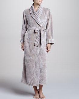 Natori Chinchilla-Patterned Robe, Cashmere-Color