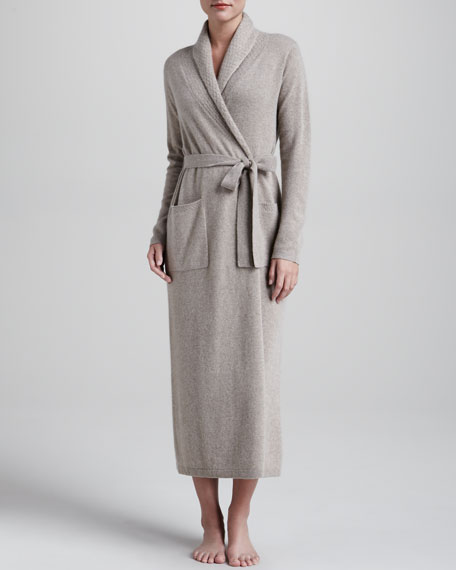 Monogrammed Cashmere Robe, Taupe