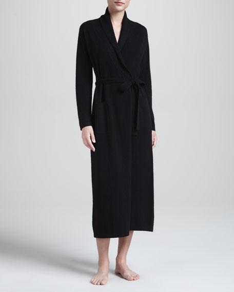 Monogrammed Cashmere Robe, Black