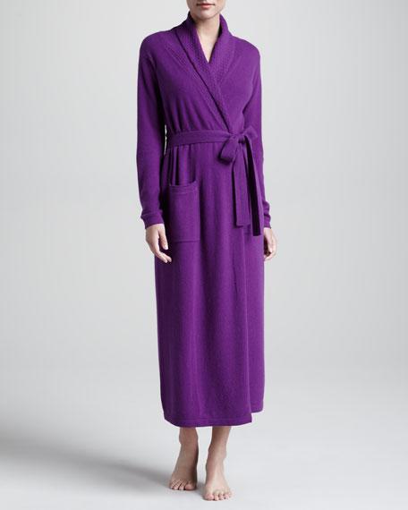 Monogrammed Cashmere Robe, Purple