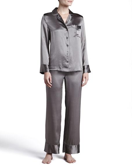 Monogrammed Silk Pajamas, Mushroom