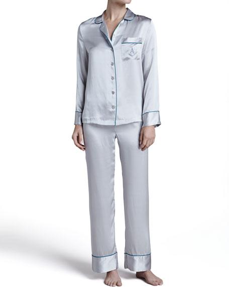 Monogrammed Silk Pajamas, Gray