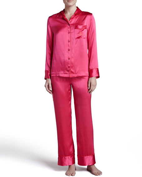 Monogrammed Silk Pajamas, Poppy