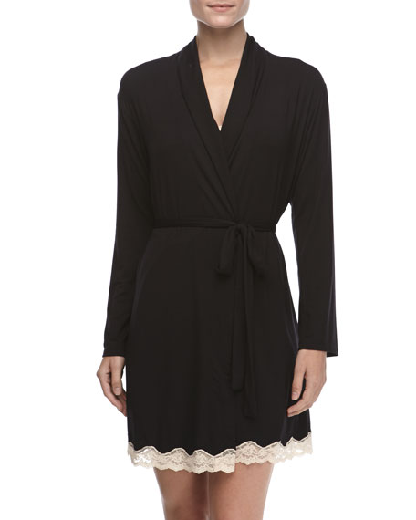 Lady Godiva Lace-Trimmed Robe, Black
