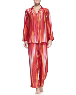 Natori Hayworth Notch-Collar Pajama Set