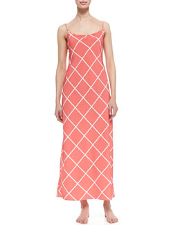 Natori Windowpane Print Gown, Sunset