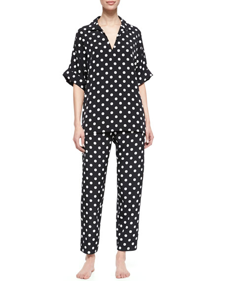 Dot Modern Polka Dot Pajama Set, Black