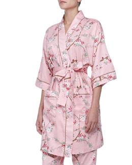 Bedhead Birds & Blossom Sateen Kimono Robe