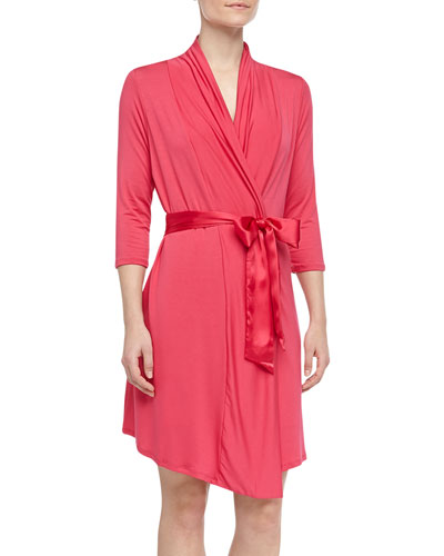 Take Me Away Travel Robe with Silk Inset Belt and Hidden Pockets, Fire Coral