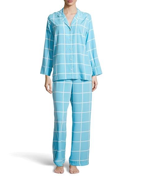 Windowpane Notched Pajama Set, Ice Blue