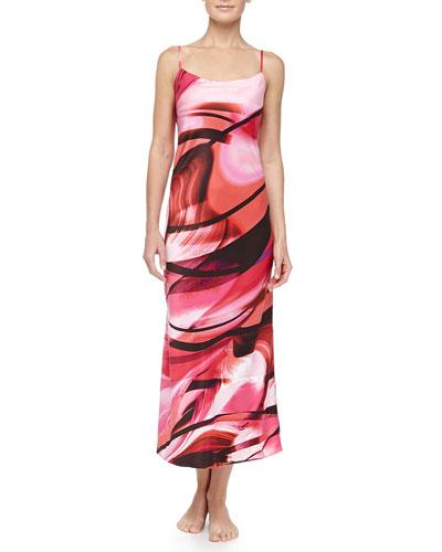 Natori Garland Swirl Print Tank Gown, Azalea