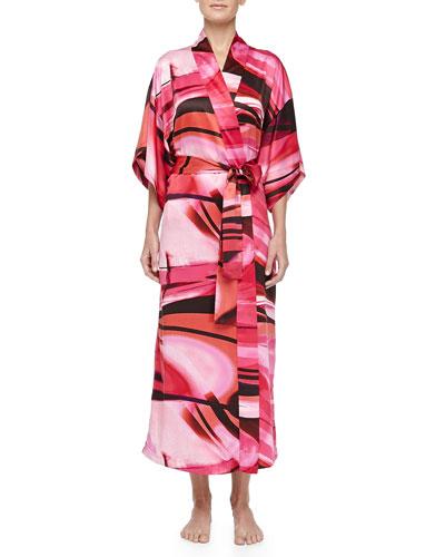 Natori Garland Swirl Print Long Robe, Azalea