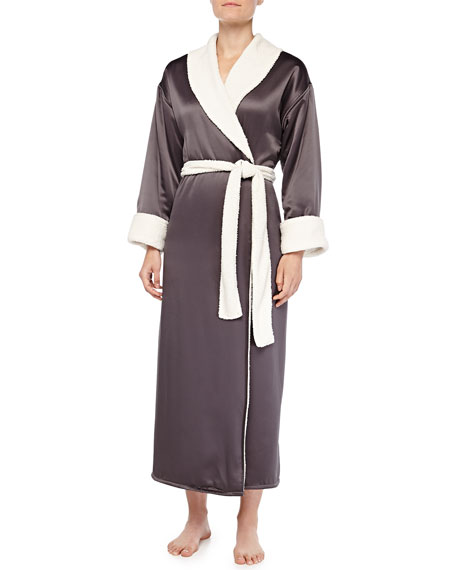 Faux-Sherpa Lined Charmeuse Long Robe, Gunmetal