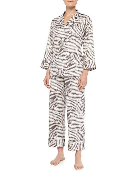 Sierra Animal-Print Poplin Pajama Set, Gingerbread