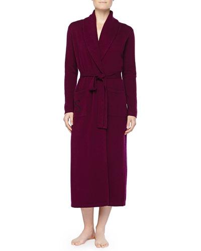 Neiman Marcus Cashmere Monogrammed Long Robe, Wine