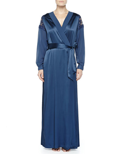 Ricamato Lace-Tulle Satin Robe, Blue