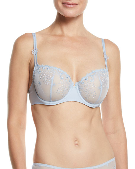 Simone PereleDelice Embroidered Demi Bra, Moonlight