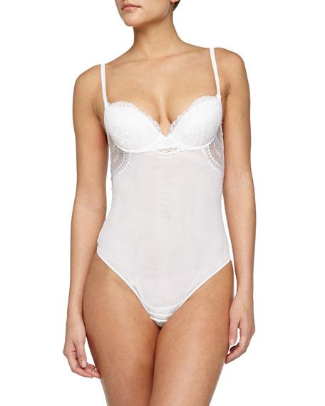 La Perla Begonia Lace-Inset Bodysuit, White