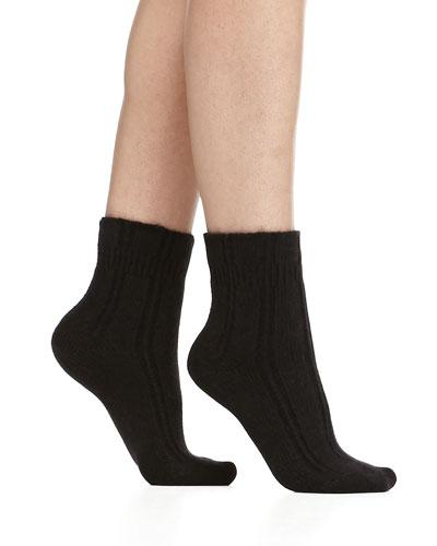 Cashmere-Blend Cozy Ruffled Bedsocks, Black