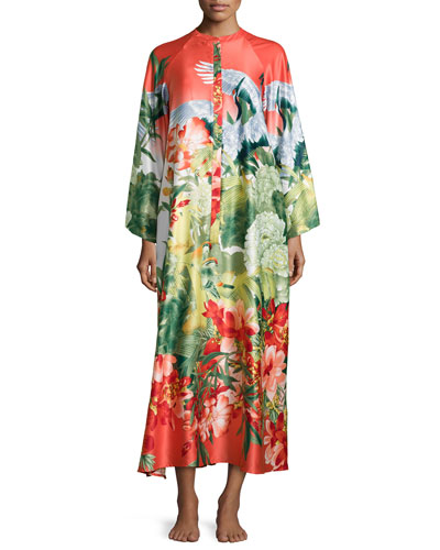 Birds of Paradise Zip-Front Caftan, Coral Print