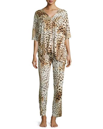Gabon Two-Piece Tunic Pajama Set, Leopard, Women