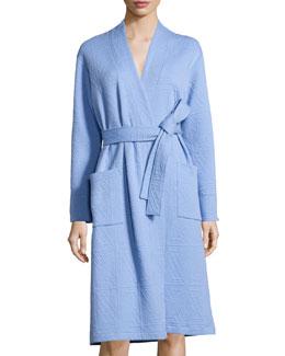 Long-Sleeve Jacquard Robe, Surf Blue