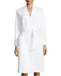 Long-Sleeve Jacquard Robe, Alabaster
