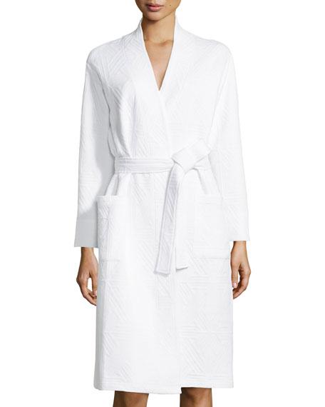 Natori Long-Sleeve Jacquard Robe, Alabaster