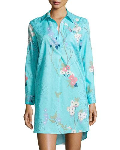 Sakura Cotton Floral-Print Sleepshirt, Light Blue