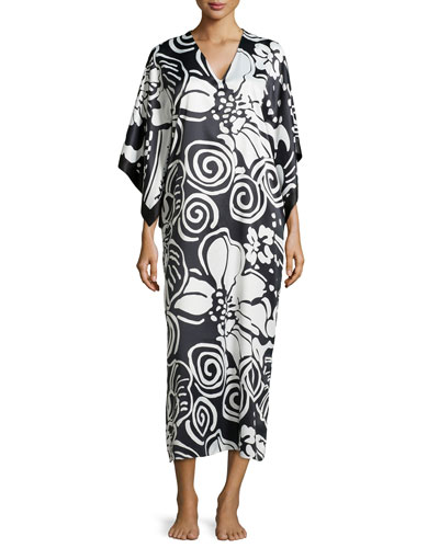Tuvalo Bordered Caftan, Black/White, Women