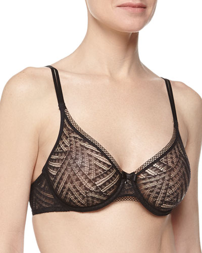 Illusion Molded Lace Bra, Black