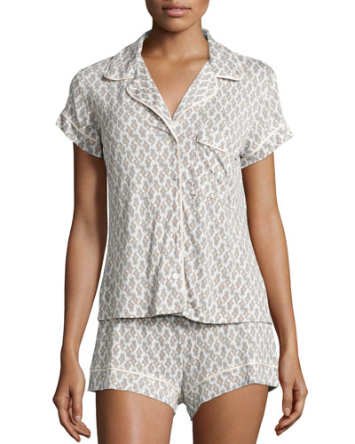 By-The-Sea Short Pajama Set, Pearl Pink/Oyster Gray
