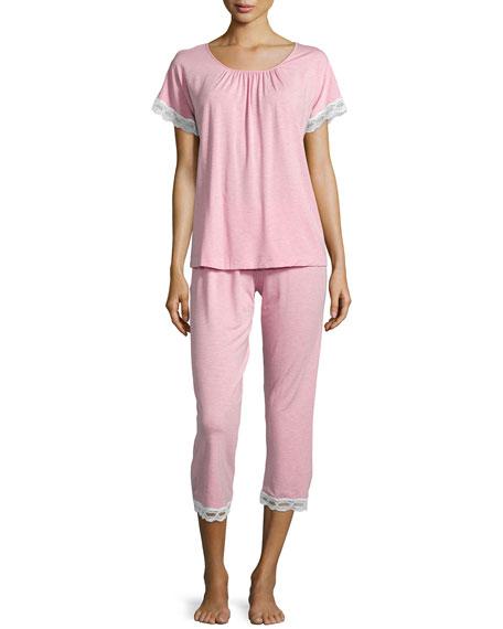 Hanro Liz Lace Cropped Pajama Set, Dusty Rose