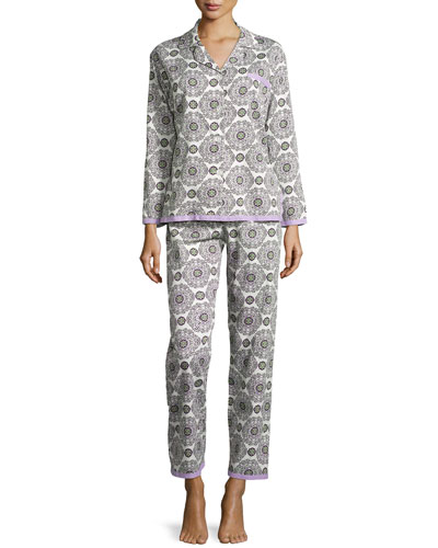 Printed Classic Ribbon Pajama Set, Cream Medallion