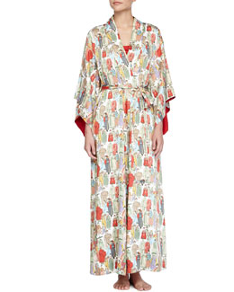 Dynasty Pearl-Print Long Robe, Multicolor
