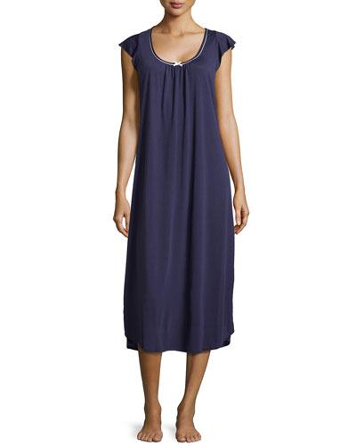 Quintessential Classic Cap-Sleeve Gown, Indigo