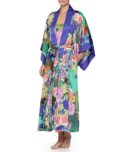 Tahiti Floral-Print Long Wrap Robe, Multi