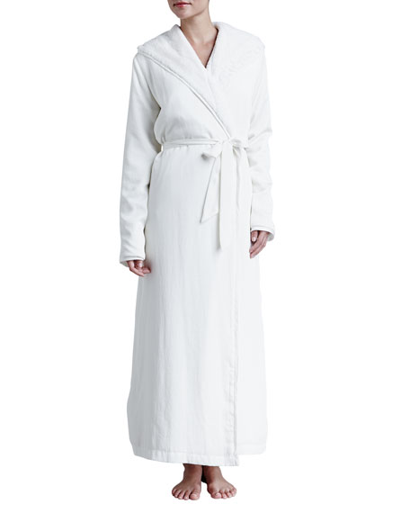 Laundered Satin & Faux-Fur Robe, White