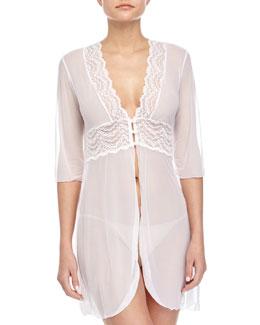 Elise Lace-Trim Short Robe, White