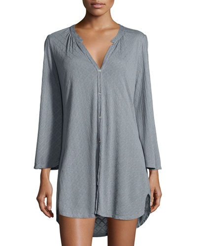Earl Textured Sleepshirt, Smoked Blue