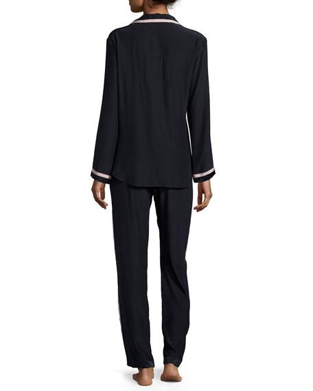 Long-Sleeve Pajama Set, Navy/Creme