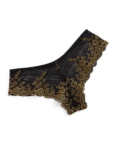Embrace Lace Tanga Briefs, Black/Gold