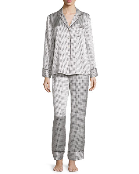 Neiman Marcus Dot & Diamond-Print Pajama Set, White/Black