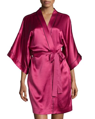 3/4-Sleeve Short Robe, Claret